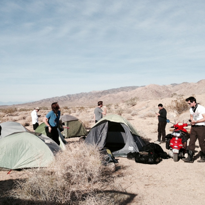 First night in Joshua tree. Hit 22 degrees that night in the hills. Also had to set up camp in the pitch black.