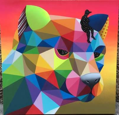 Cougar esmalte sintetico sobre lienzo 70x70 2016