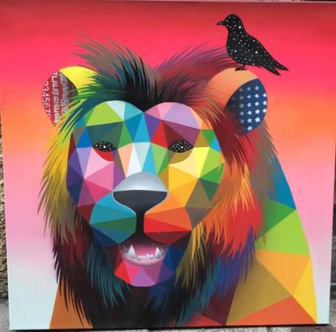King of the jungle esmalte sintetico sobre lienzo 80x80 2016